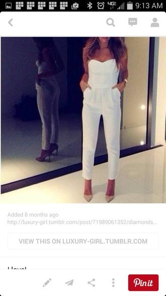 jumpsuit white sleveless pants romper pockets heels