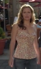 top,celebrity,maggie lawson,psych,butterfly,girl,style,bustier,tank top,tv/movies,tv,tv shows,tv show,shirt,hot,nude top