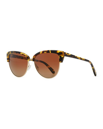 Oliver Peoples Alisha Half-Cat-Eye Sunglasses, Brown - Bergdorf Goodman