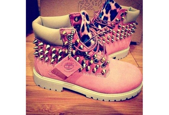 light pink spikes white shoes timbs custom cheetah leopard female timberlands
