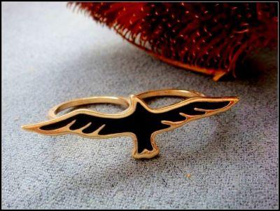 Vintage gold tone blue eagle double finger ring bird | eBay