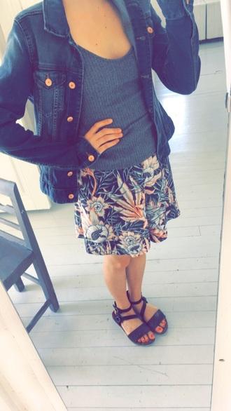 jacket h&m denim jacket strap tanks flowy flowers sandals