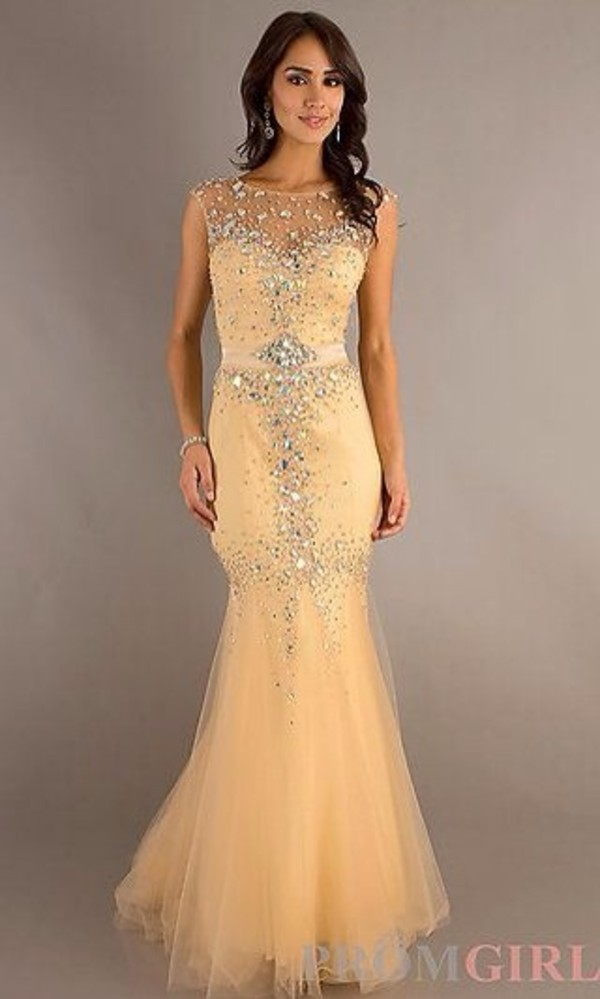 dress long prom dress nude sparkly dress mermaid prom dress summer pinneapple