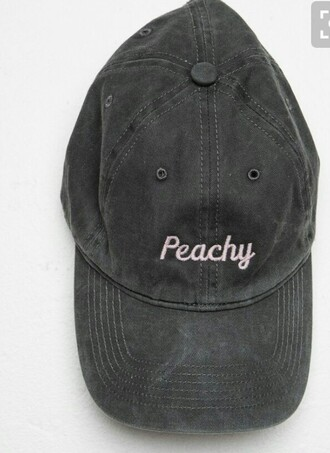 hat black peachy quote on it pink cute