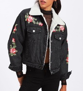 jacket,embroidered,girly,black,denim jacket,denim,floral,flowers,fur,fur jacket,fur denim jacket,girl,girly wishlist,button up