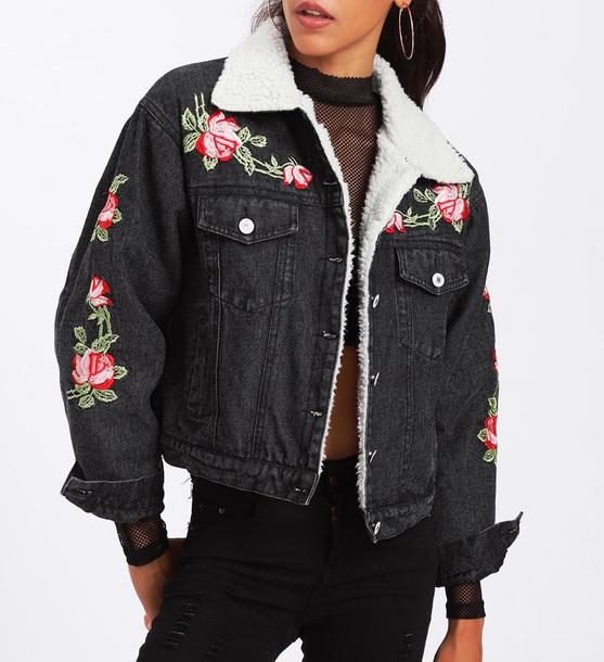 jacket embroidered girly black denim jacket denim floral flowers fur fur jacket fur denim jacket girl girly wishlist button up