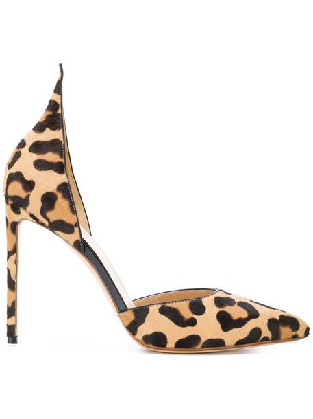 Francesco Russo women pumps leather print brown leopard print shoes