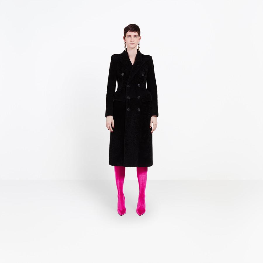 Women's   Hourglass Shearling Coat    Balenciaga