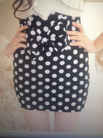 skirt polka dots bow pencil skirt