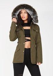 jacket,fur,hooded,khaki,green,army green jacket