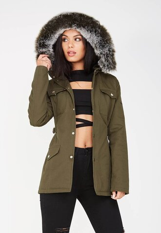 jacket fur hooded khaki green army green jacket