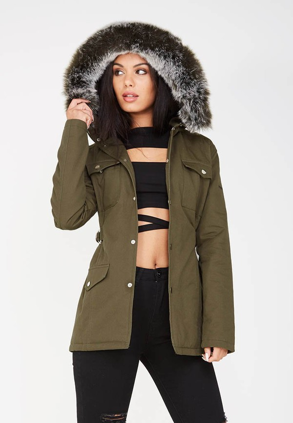 jacket fur hooded khaki green army green jacket