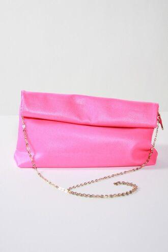 bag neon pink purse pink purse pink bag fold over purse shoulder chain snap closure zipper closure www.ustrendy.com