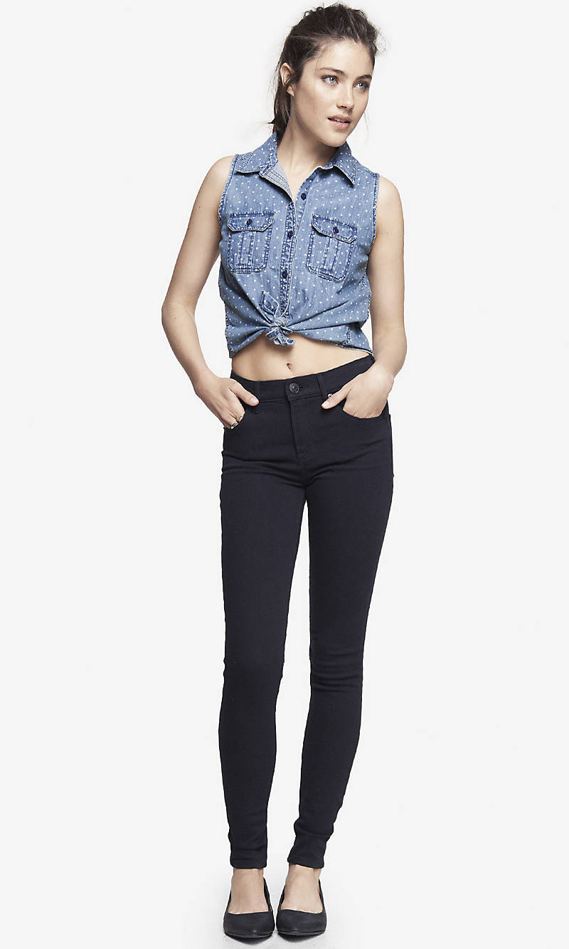 HIGH WAISTED BLACK JEAN LEGGING from EXPRESS