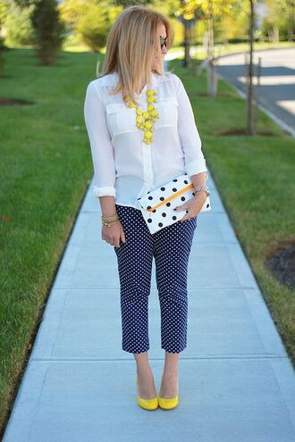 pants polka dots capri pants capri pants polka dots blue pants shirt white shirt pumps yellow pumps necklace yellow necklace bag white bag spring outfits polka dot pants