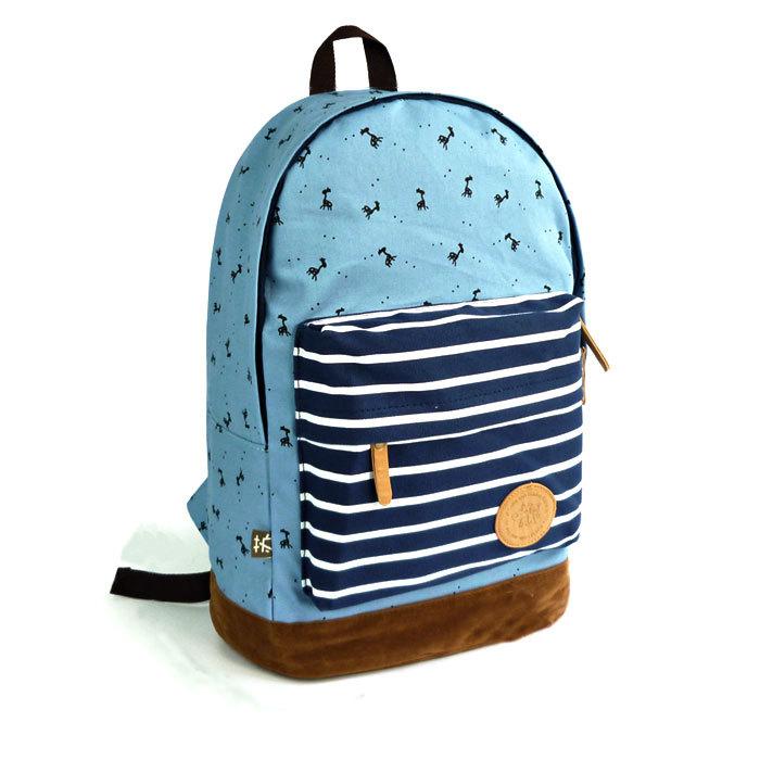 [grhmf2200089]Sweet Cute Deer & Strip Print Canvas Backpack
