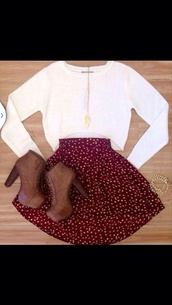 sweater,white sweater,crop tops,burgundy,skirt,high waisted skirt,polka dots,red skater skirt,red skirt with white polka dots,shoes,shoes booties brown heels,t-shirt,printed skirt,blouse
