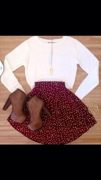 sweater white sweater crop tops burgundy skirt high waisted skirt polka dots red skater skirt red skirt with white polka dots shoes shoes booties brown heels t-shirt printed skirt blouse