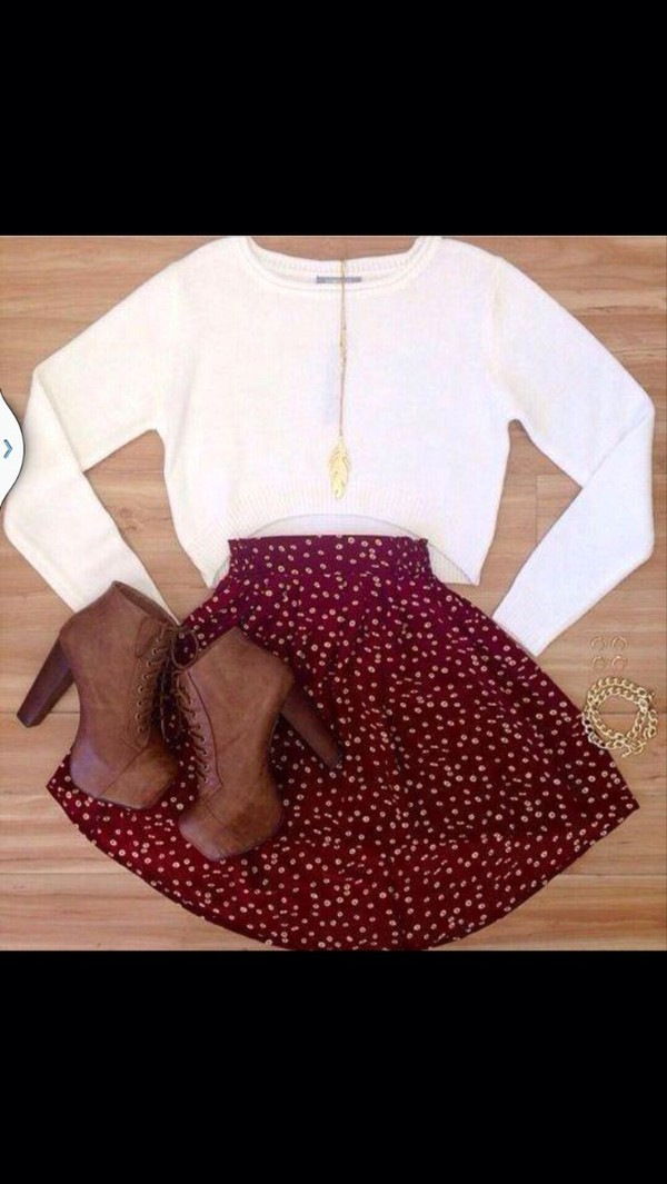 sweater white sweater crop tops burgundy skirt high waisted skirt polka dots red skater skirt red skirt with white polka dots shoes shoes booties brown heels t-shirt printed skirt blouse
