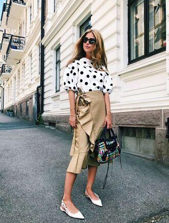 t-shirt polka dots midi skirt wrap ruffle skirt flats white flats puffy sleeve balenciaga balenciaga bag blogger