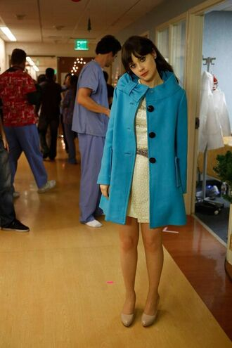 coat nude flats new girl zooey deschanel celebrity actress tv show jess day jessica day blue coat dress white dress belted dress flats