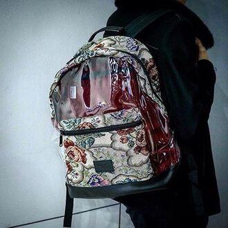 bag backpack rucksack transparent floral girly transparent backpack fusion transparent  bag girls backpack jacquard hipster