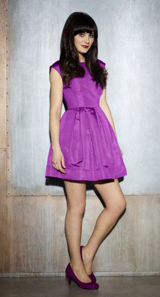 purple pleated zooey deschanel