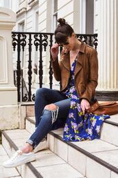 thank fifi,blogger,dress,jeans,shoes,bag,jewels,sneakers,brown jacket,spring outfits