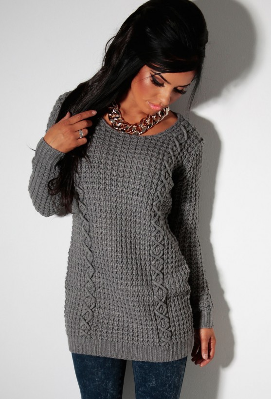 Thaw grey thick cable knit jumper dress