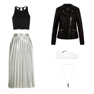 top midi skirt metallic midi skirt leather white white sneakers necklace crop tops crop black crop top open back backless backless top leather jacket biker jacket gemstone