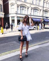 dress,sunglasses,tumblr,mini dress,white dress,wrap dress,sandals,sandal heels,high heel sandals,black sandals,bag,black bag,shoes