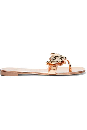 metallic embellished sandals leather sandals leather shoes