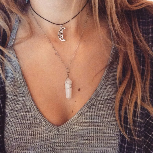 shirt grey knit necklace moon hipster indie choker necklace choker necklace jewelry black choker grunge grunge jewelry