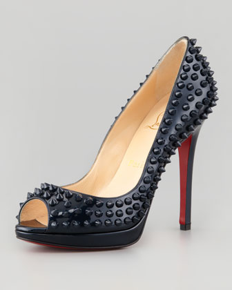 Christian Louboutin Yolanda Spikes Peep-Toe Red Sole Pump, Blue Khol - Neiman Marcus