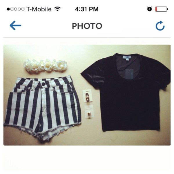 blouse black velvet stripes shorts shirt flower crown flowers jewels hat