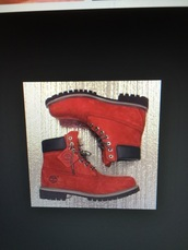 shoes,timberlands,timberland,red,women,mens shoes,menswear