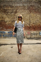 skirt,sequin skirt,silver skirt,midi skirt,pencil skirt,sequins,top,stripes,striped top,high heels,black heels,heels,bag,black bag,sunglasses,black sunglasses