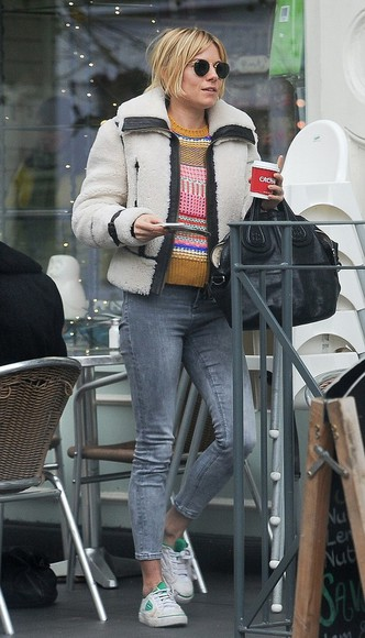sienna miller bag shoes jacket jeans sunglasses