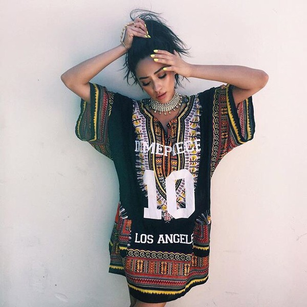 shay mitchell shirt dress african print los angeles dashiki celebrity celebrity style accessories jewels necklace statement necklace jewelry t shirt print t-shirt t-shirt dress t-shirt dress dress boho indie sylish alternative team t-shirt team shirt team black white red shirt top dope tribal pattern summer blouse dimepiece cute swag chic streetwear