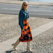 checkered shirt,oversized shirt,thigh high boots,high heels boots,midi skirt,wool,checkered,handbag,retro sunglasses
