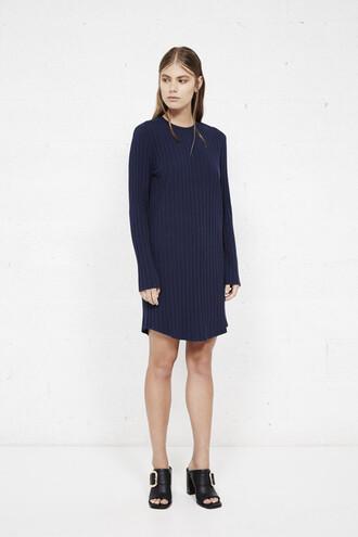 dress knitted dress ribbed dress navy dress fall dress