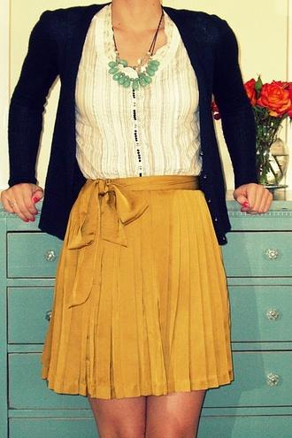 skirt yellow skirt navy cardigan sweater white blouse necklace vinatge mustard shirt stripes white navy details blouse dark blue cardigan white creamy blouse mustard yellow skirt