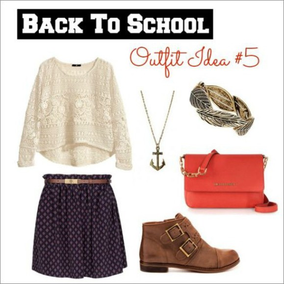blue skirt blouse off-white lace purple brown boots