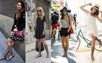 shoes sandals gladiator fashion black summer outfits cool udobuy flat knee high bqueen girl
