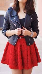 dress,robes,jupe,red dress,veste cuir,jacket