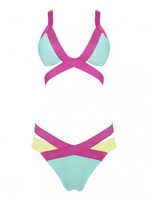 Candy Color Bandage Bikini Swimwear H909 $79
