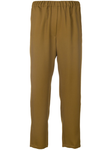 cropped women wool brown pants