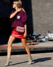 skirt,mini skirt,leather,sweater weather,crossbody bag,sandal heels,sunglasses,earrings