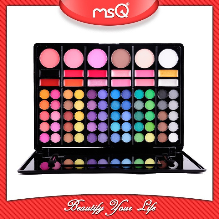 Wholesale msq 78 colors eyeshadow palette cosmetics with 12 colors lip gloss makeup eye shadow