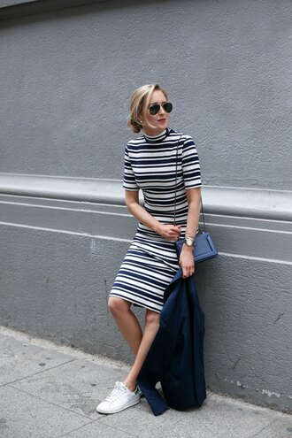 the classy cubicle blogger striped dress stripes turtleneck dress mock neck spring dress